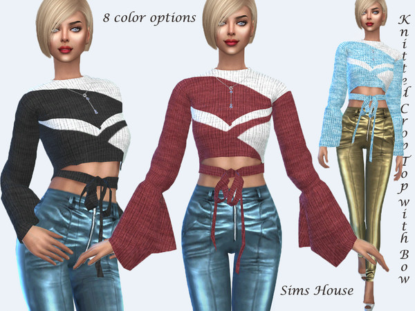 Sims 4 Knitted Crop Top with Bow by Sims House at TSR