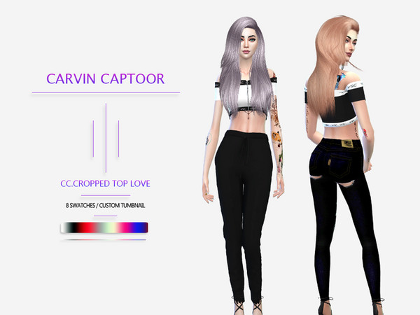 Sims 4 Cropped top love by carvin captoor at TSR