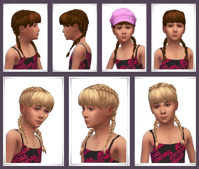 Sims 4 Girls Double Braids at Birksches Sims Blog