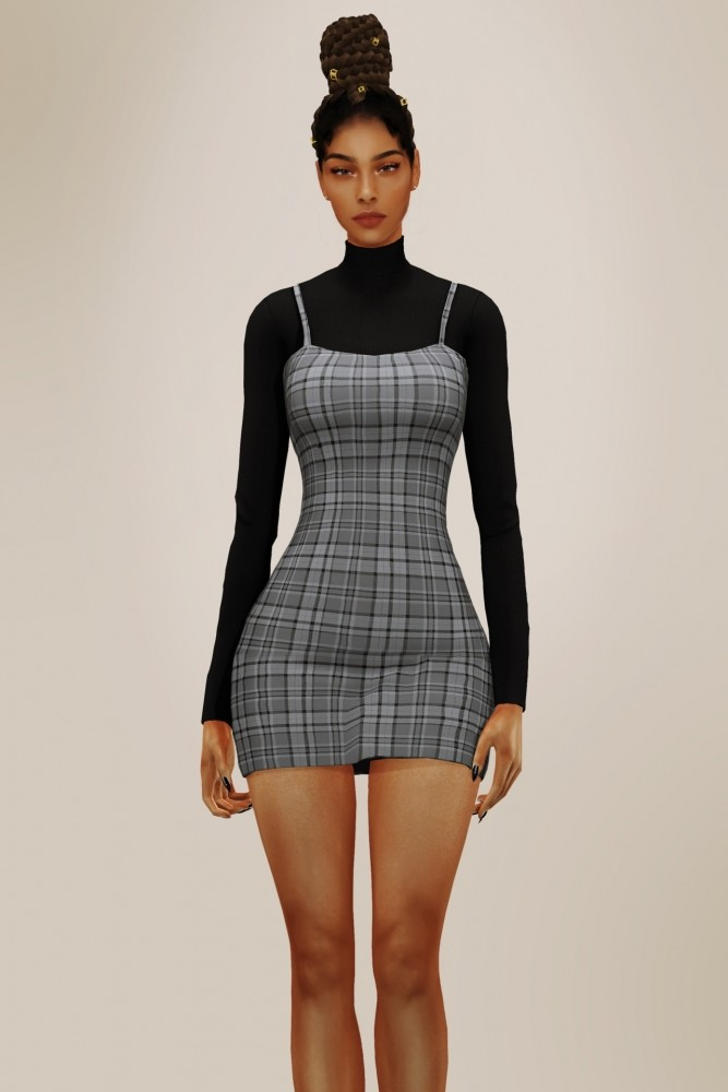 Sims 4 Turtleneck and Short Dress at Elliesimple