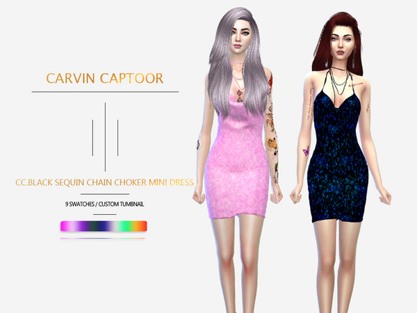 Sims 4 Black Sequin Chain Choker Mini Dress by carvin captoor at TSR