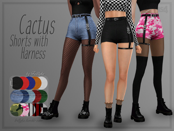 Sims 4 Cactus Shorts with Harness by Trillyke at TSR