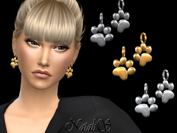 Sims 4 Cat paw earrings by NataliS at TSR