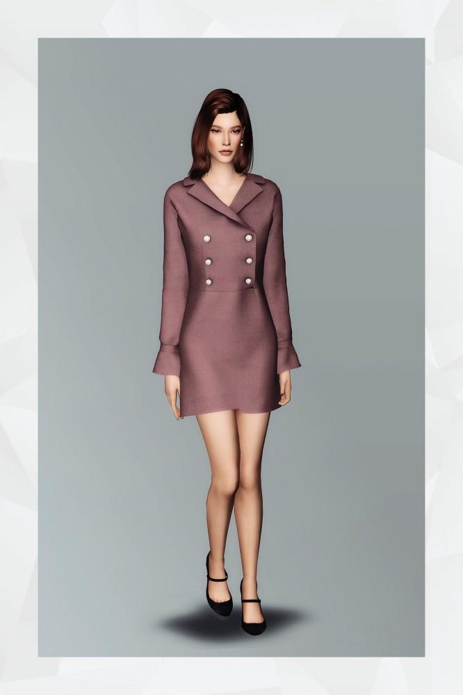 Sims 4 Double Button Dress at Gorilla