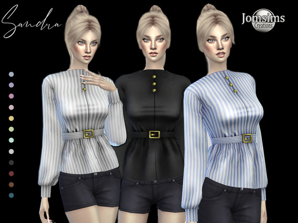 Sims 4 Sandra blouse with belt by jomsims at TSR