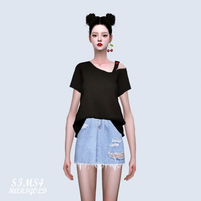 One Side Off Shoulder T shirt (P) at Marigold image 259 670x670 Sims 4 Updates