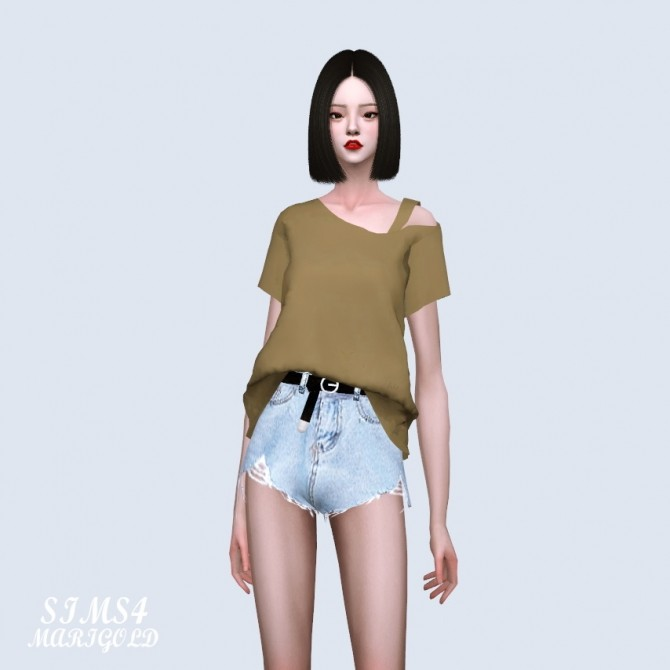 One Side Off Shoulder T shirt (P) at Marigold image 260 670x670 Sims 4 Updates