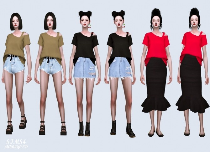 One Side Off Shoulder T shirt (P) at Marigold image 2621 670x486 Sims 4 Updates