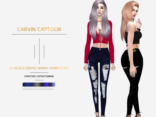 Sims 4 Bleach Ripped Skinny Denim Jeans by carvin captoor at TSR