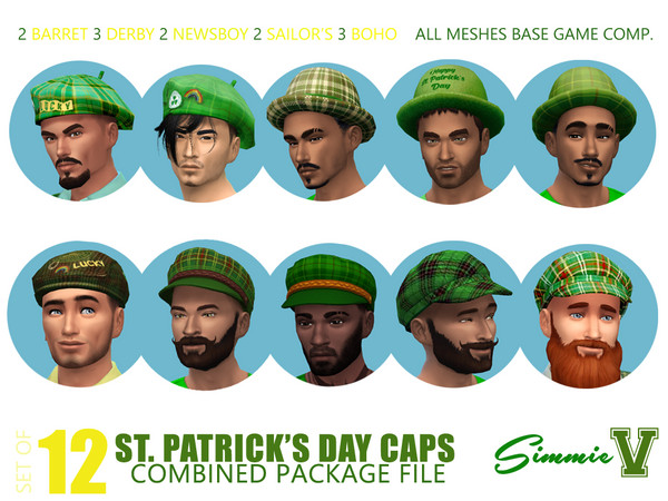 Sims 4 St Patricks Day Caps and Hats by SimmieV at TSR