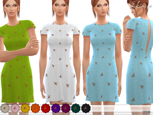 Floral Embroidered Eyelet Dress by ekinege at TSR image 2826 Sims 4 Updates