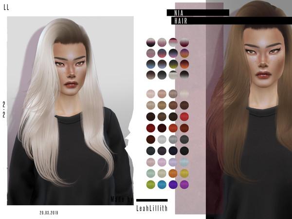 Sims 4 Nia Hair by Leah Lillith at TSR