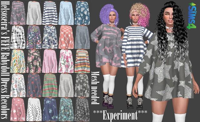 Sims 4 Helsoseiras FEFE Babydoll Dress Recolors at Annett's Sims 4 Welt