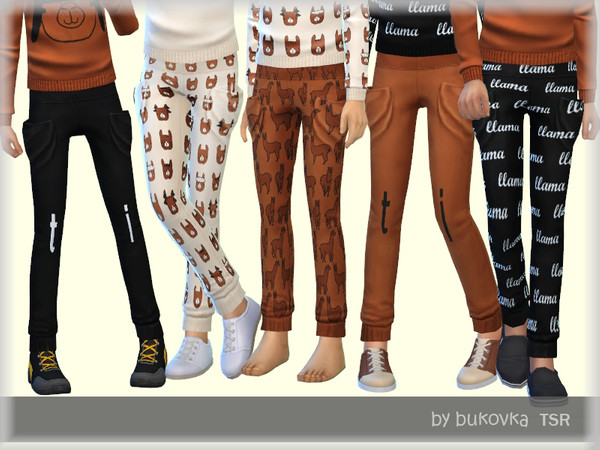 Sims 4 Pants Lama for kids by bukovka at TSR