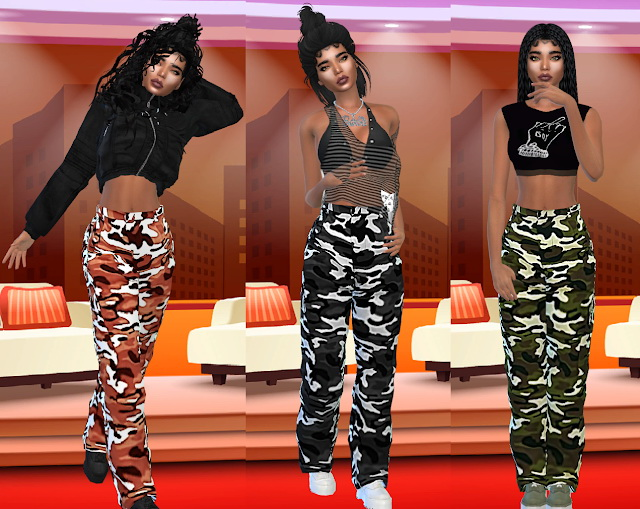 Sims 4 STONE CAMO PRINT CARGO TROUSERS Recolor at Teenageeaglerunner