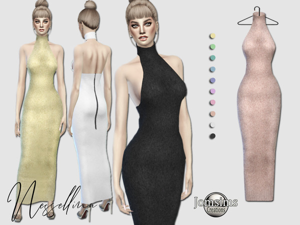 Sims 4 Nessellina long dress by jomsims at TSR