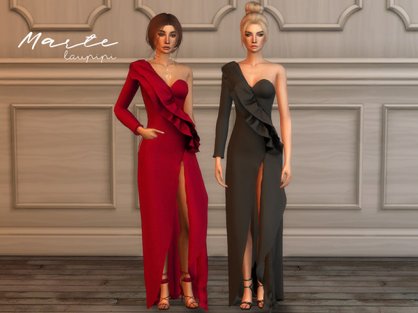 Marte long dress by laupipi at TSR image 3711 Sims 4 Updates