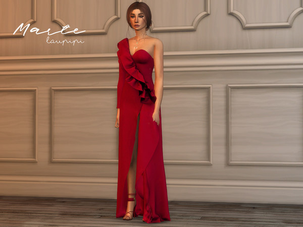 Marte long dress by laupipi at TSR image 3810 Sims 4 Updates