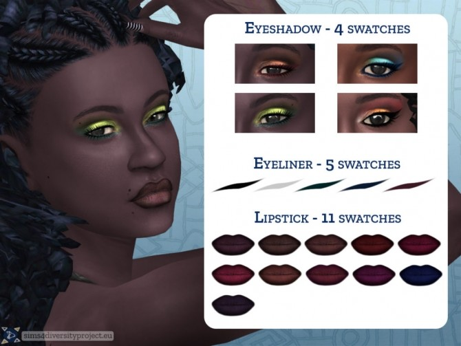 Sims 4 Ebony Queen Makeup Set at Sims 4 Diversity Project