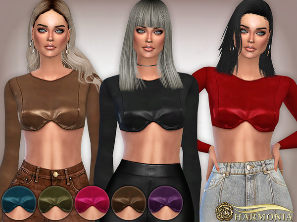 Sims 4 Vegan Leather Shaped Bust Top by Harmonia at TSR