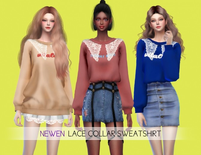Sims 4 Lace Collar Sweatshirt 2 Styles at NEWEN