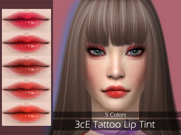 Sims 4 LMCS 3cE Tattoo Lip Tint by Lisaminicatsims at TSR