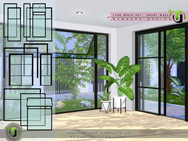 Sims 4 Lyne Build Set IV Three Quarters Windows and Doors by NynaeveDesign at TSR