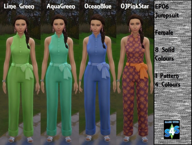 Sims 4 EP06 Female Jumpsuit by wendy35pearly at Mod The Sims