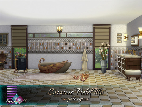 Ceramic Field Tile in pale oyster by emerald at TSR image 489 Sims 4 Updates