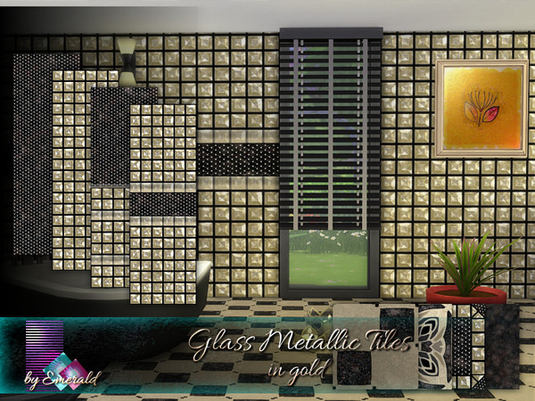 Sims 4 Glass Metallic Tiles in gold by emerald at TSR