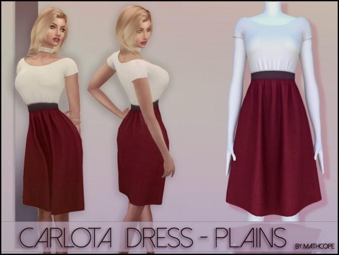 Sims 4 Carlota dress plains by Mathcope at Sims 4 Studio