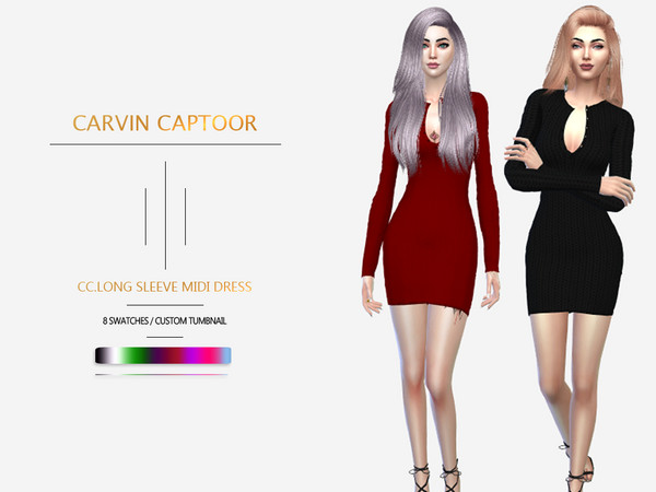 Long sleeve midi dress by carvin captoor at TSR image 549 Sims 4 Updates