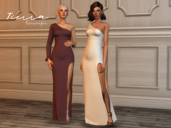 Tierra asymmetric gown by laupipi at TSR image 5713 Sims 4 Updates