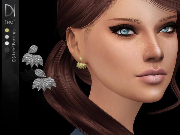 Sims 4 DS Leaf Earrings by DarkNighTt at TSR
