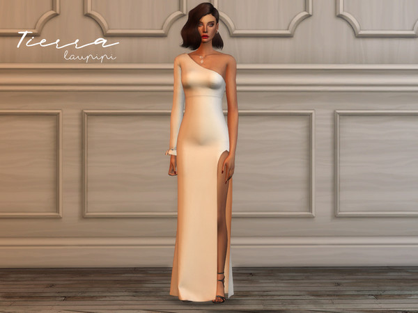 Sims 4 Tierra asymmetric gown by laupipi at TSR