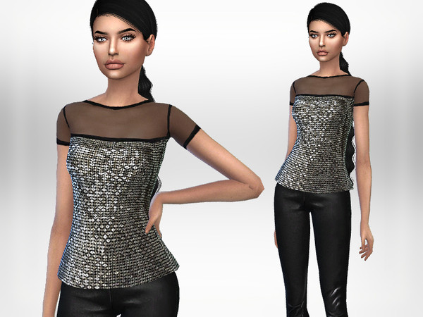 Sims 4 Sequin Top by Puresim at TSR