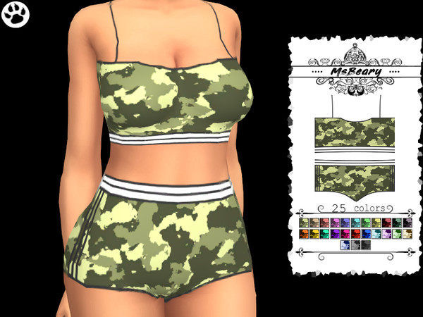 Camo PJ Outfit by MsBeary at TSR image 6100 Sims 4 Updates
