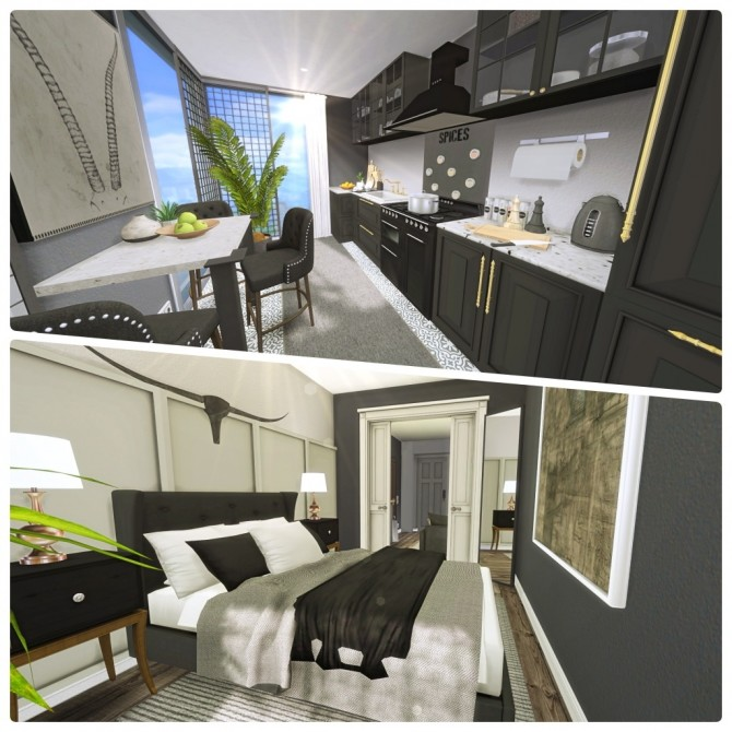 Sims 4 Small Dark Apartment at Liney Sims
