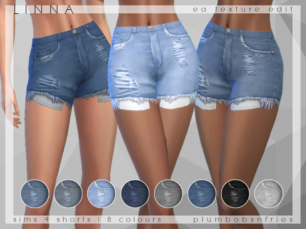PnF Linna High Waisted Denim Shorts by Plumbobs n Fries at TSR image 629 Sims 4 Updates