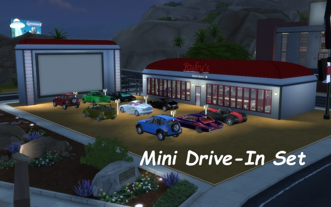 Sims 4 Mini Drive In Set by fire2icewitch at Mod The Sims