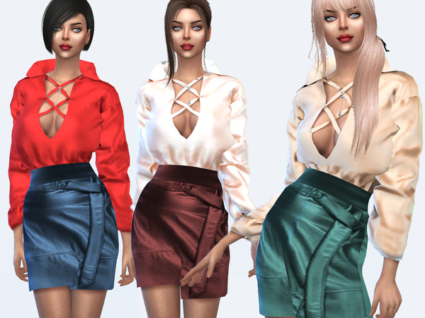 Sims 4 Satin blouse and leather skirt by Sims House at TSR