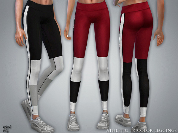 Sims 4 Athletic Tricolor Leggings by Black Lily at TSR