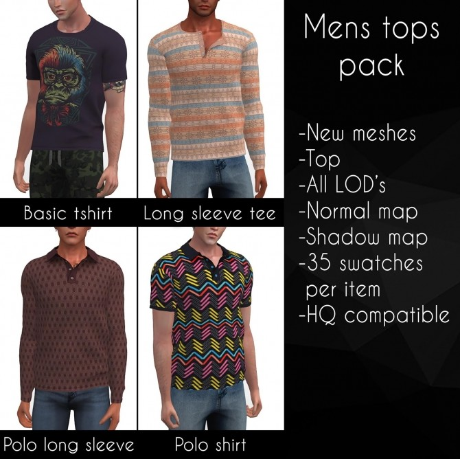 Mens Tops Pack At LazyEyelids » Sims 4 Updates