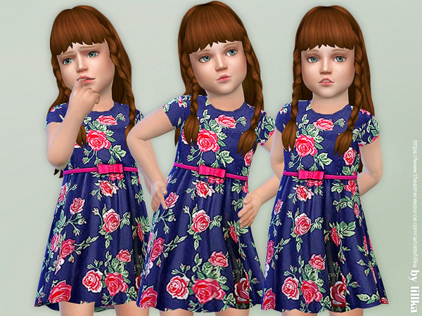 Sims 4 Navy Floral Dress by lillka at TSR
