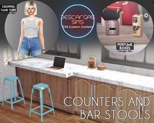Sims 4 Cropped Tank Tops, Perfume Boxes & Counters and Bar Stools (P) at Descargas Sims
