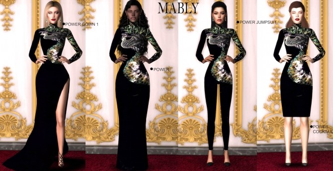 Sims 4 POWER SET dresses & jumpsuit at Mably Store