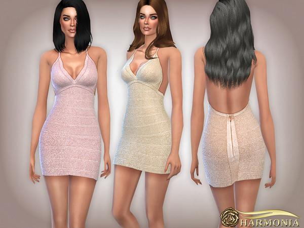 Sims 4 Metallic Bandage Halter Dress by Harmonia at TSR