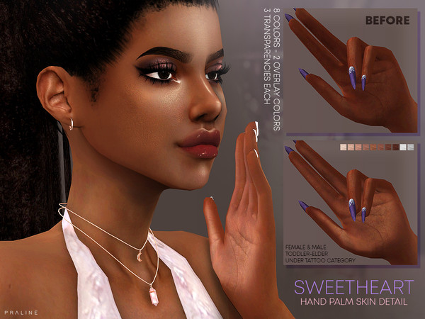 Sims 4 Sweetheart Hand Palms Skin Detail by Pralinesims at TSR