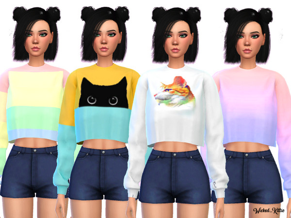 Sims 4 Loose Cropped Sweatshirt by Wicked Kittie at TSR
