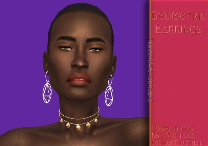 Sims 4 Geometric earrings at PW's Creations